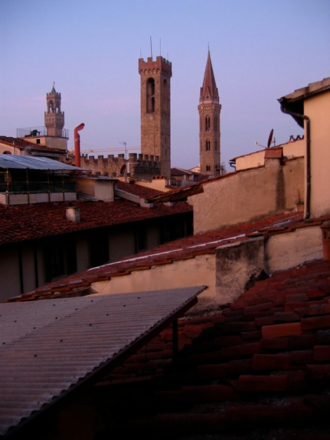 red morning on the roofs of Florence