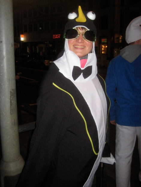 Guy in a penguin suit...or is that a penguin?