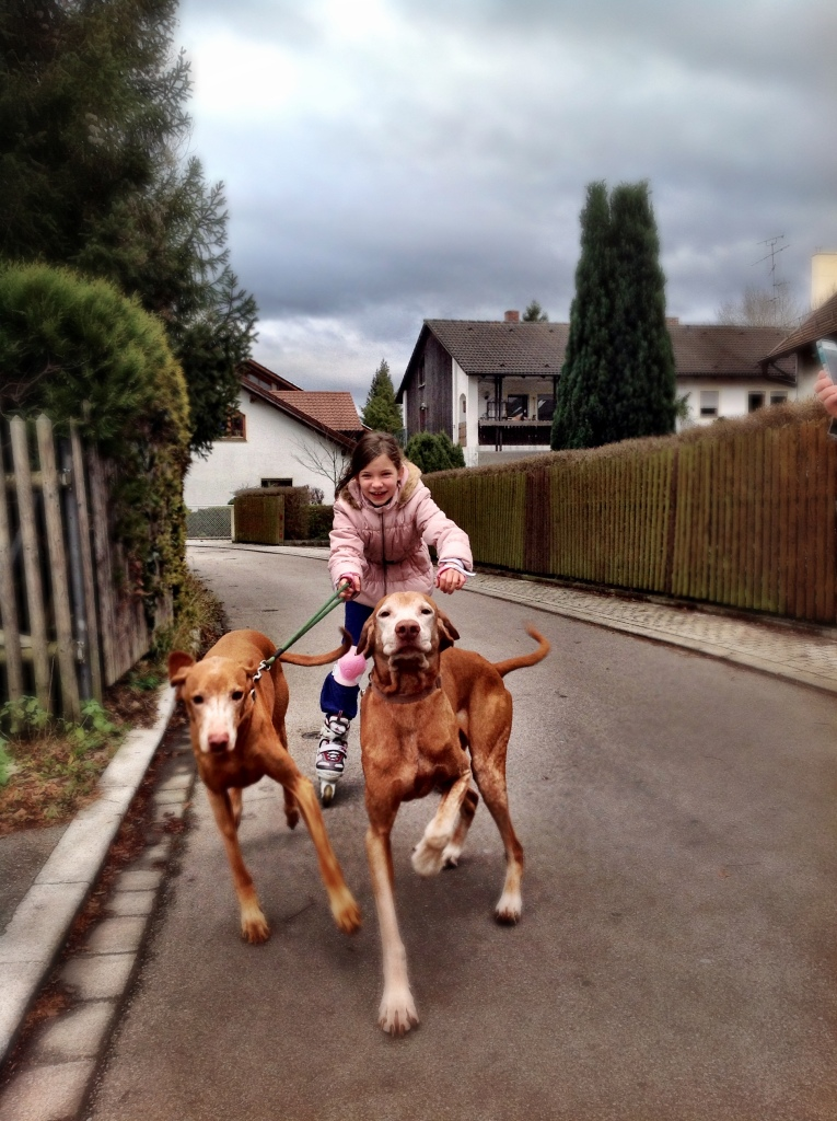 Ella and Louis taking Johanna for a walk
